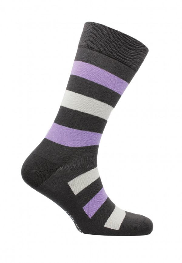 Bude Charcoal with Lilac and Stone Stripe Sock
