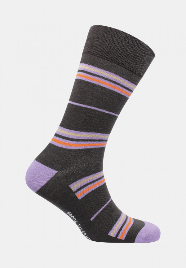 Coverack Charcoal with Lemon Orange and Lilac Fine Stripe Sock