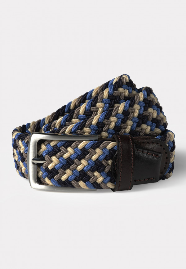Chester Navy and Sand Woven Stretch Belt