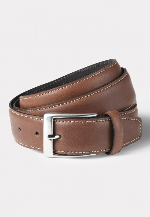 Chelmsford Brown Leather with Stitched Detail Belt