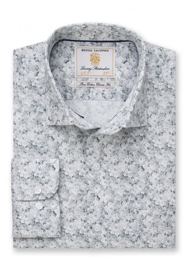 Classic Fit Business Casual Sage Floral Print Shirt