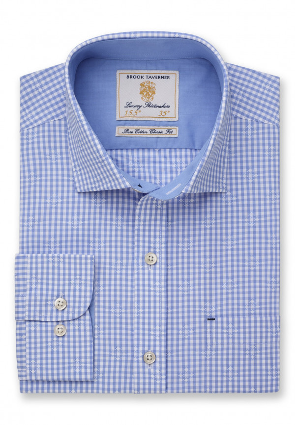 Classic Fit Business Casual Blue Gingham with Diamond Woven Design Shirt