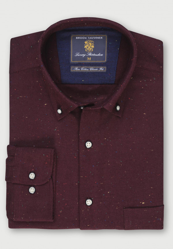 Wine with Multi Coloured Nep Brushed Cotton Donegal Twill Shirt