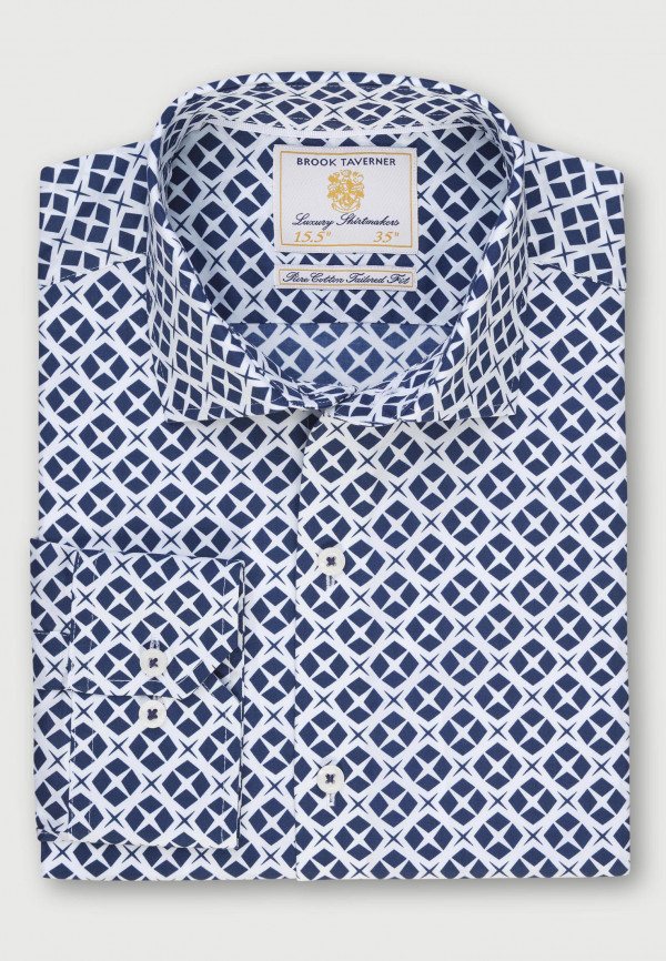 White with Navy Star Design Classic and Tailored Fit Business Casual Shirt