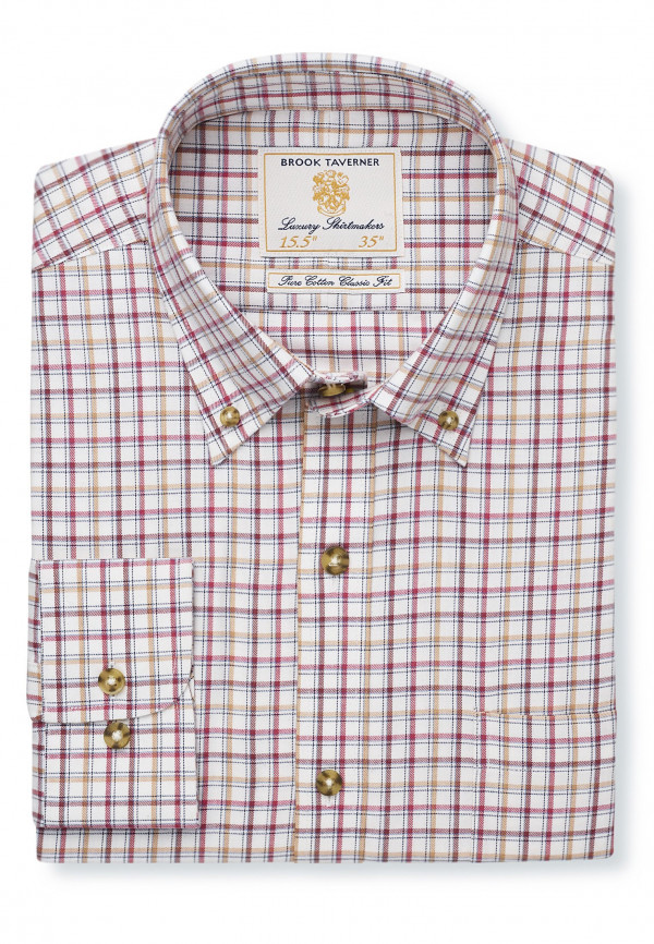 "35"" Sleeve Rouge, Gold And Wine Check Single Cuff Shirt"