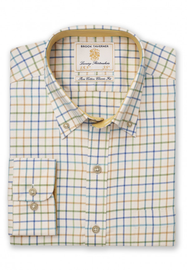 """35"""" Sleeve Cream With Blue, Turquoise and Mustard Check Single Cuff Shirt"""