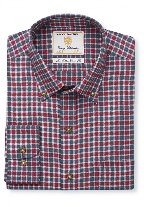 """36.5"""" Sleeve Wine And Charcoal Check Single Cuff Shirt"""