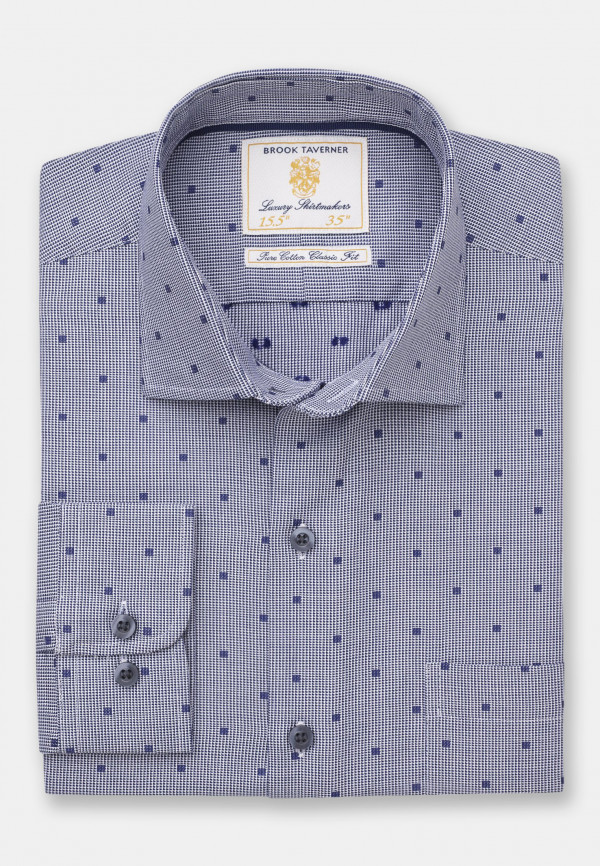 Business Casual Navy Dobby with Neat Square Shirt