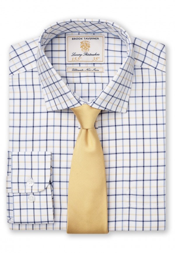 "35"" Sleeve White With Navy, Blue And Yellow Check Shirt"