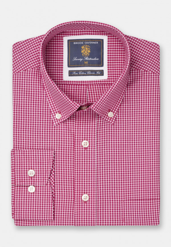 Long And Short Sleeve Red Neat Check Button Down Collar Shirt