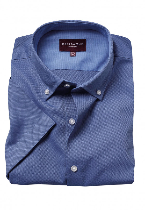 Calgary Blue Oxford Short Sleeve Tailored Fit Shirt