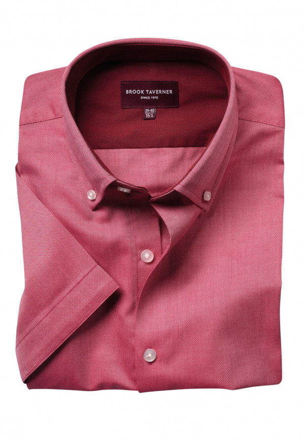 Calgary Red Oxford Short Sleeve Tailored Fit Shirt