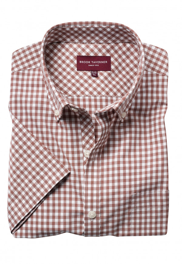 Portland Brown Gingham Short Sleeve Tailored Fit Shirt