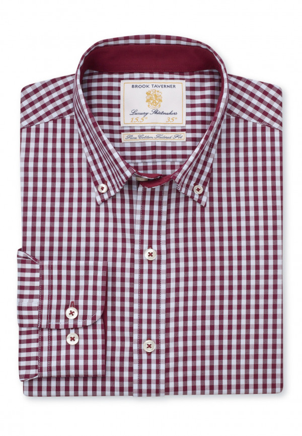 Classic FitWine and Blue Gingham Shirt