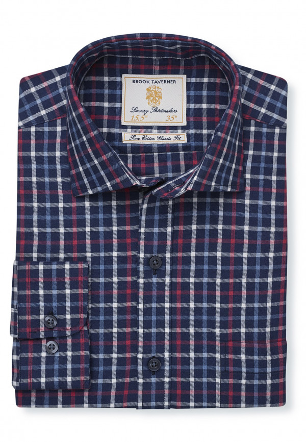 "33.5"" Sleeve Navy With Red, White And Blue Check Single Cuff Shirt"