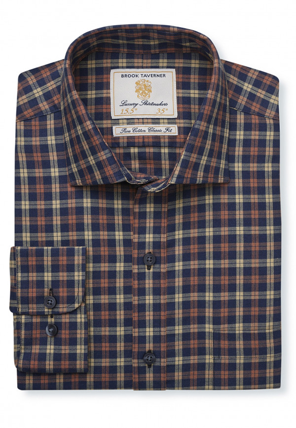 """33.5"""" Sleeve Navy With Gold And Orange Check Single Cuff Shirt"""