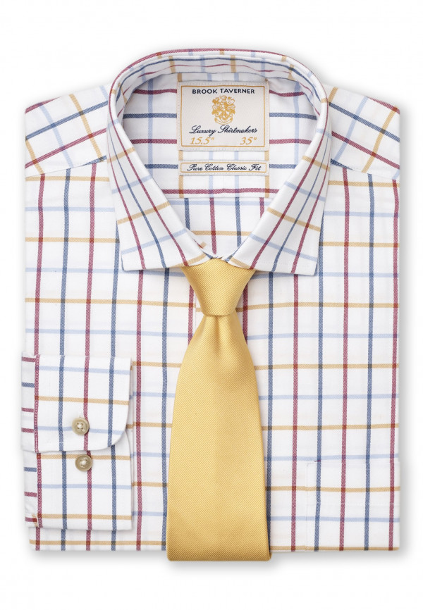 """36.5"""" Sleeve Navy, Red, Blue And Mustard Check Single Cuff Shirt"""