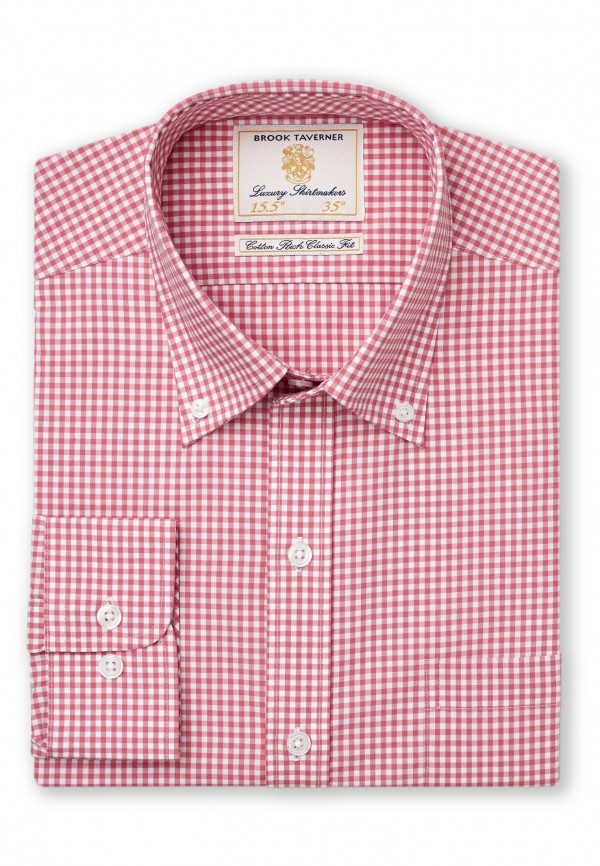 Classic Fit Red Gingham Single Cuff Shirt