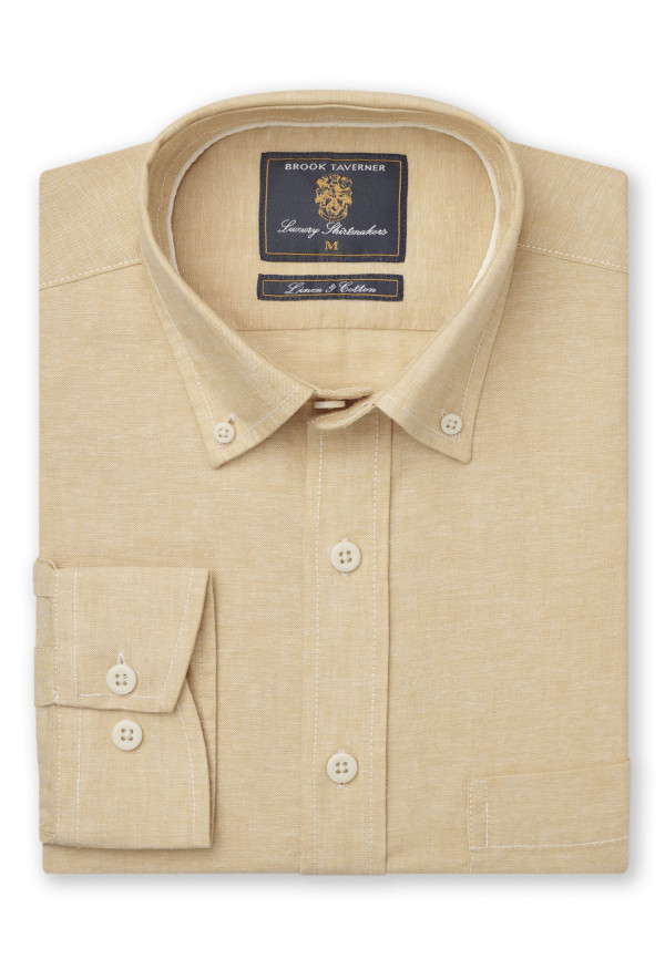 Classic And Tailored Fit Plain Corn Single Cuff Shirt