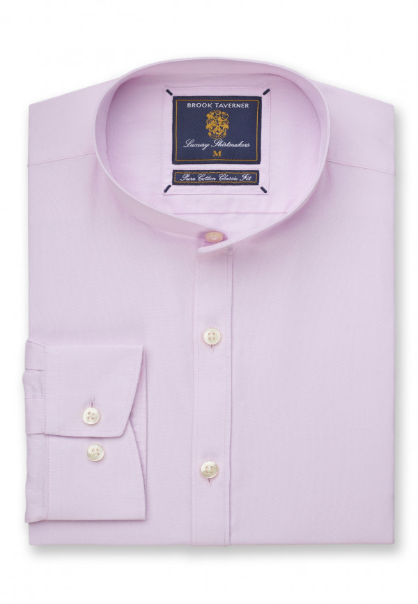 Classic and Tailored Fit Grandad Collar Long Sleeve Pink Oxford Shirt