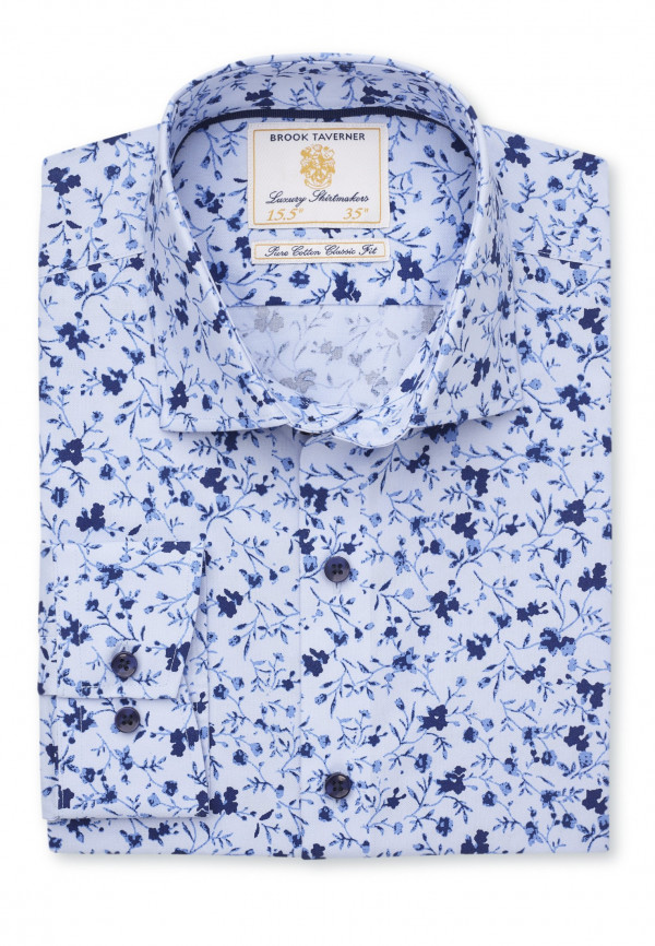 Tailored Fit Blue With Navy and Blue Flower Shirt
