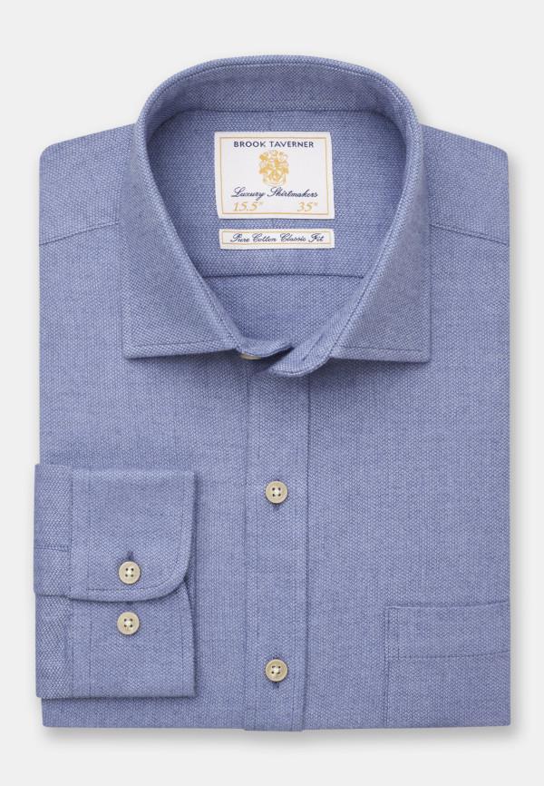 Mid Blue Supersoft Cotton Melange Shirt