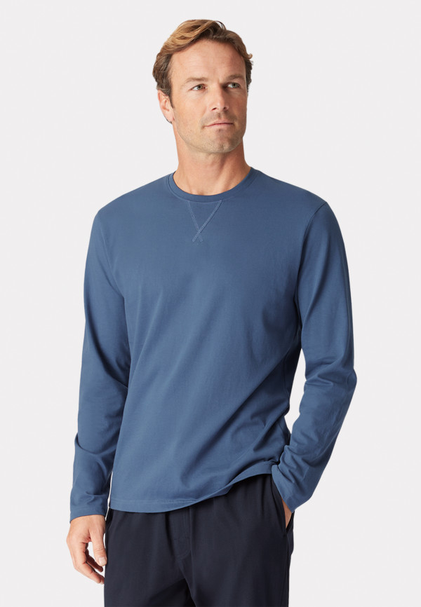 Arnold Long Sleeve Denim Blue Crew Neck T-Shirt