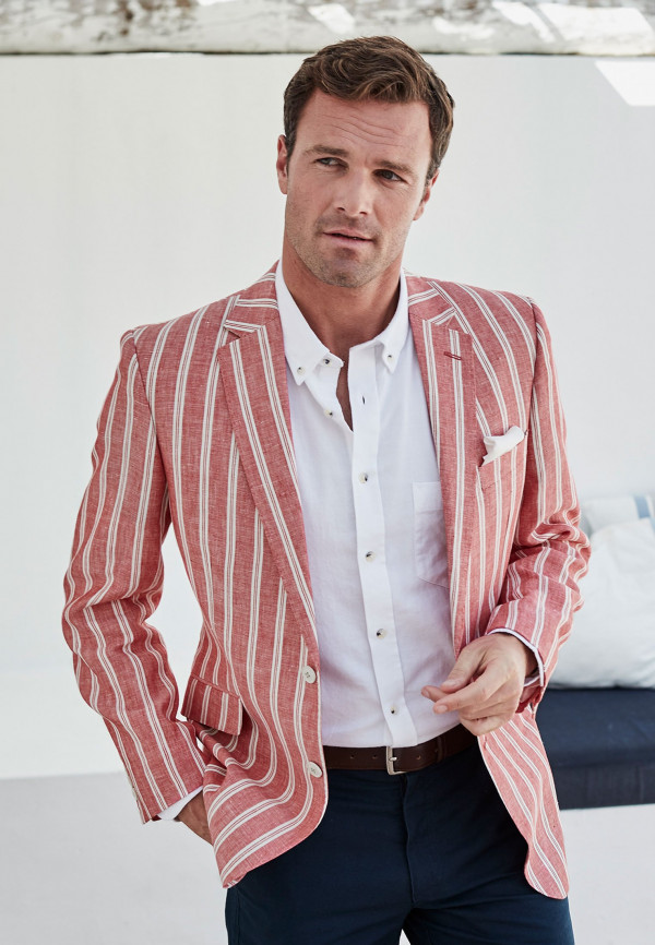Awdry Classic Fit Coral Stripe Jacket