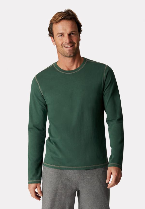 Bristol Green-Garment Washed Crew Neck Long Sleeve T-Shirt