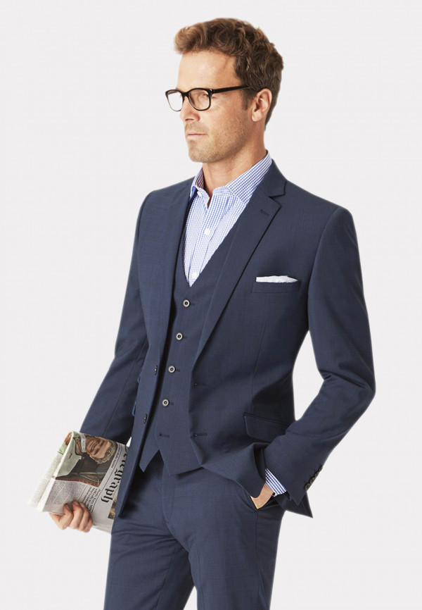 Cassino Navy Check Tailored Fit Washable Suit Jacket