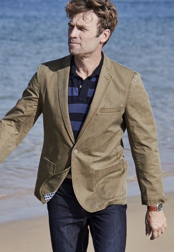 Euston Tailored Fit Semi-Structured Caramel Jacket