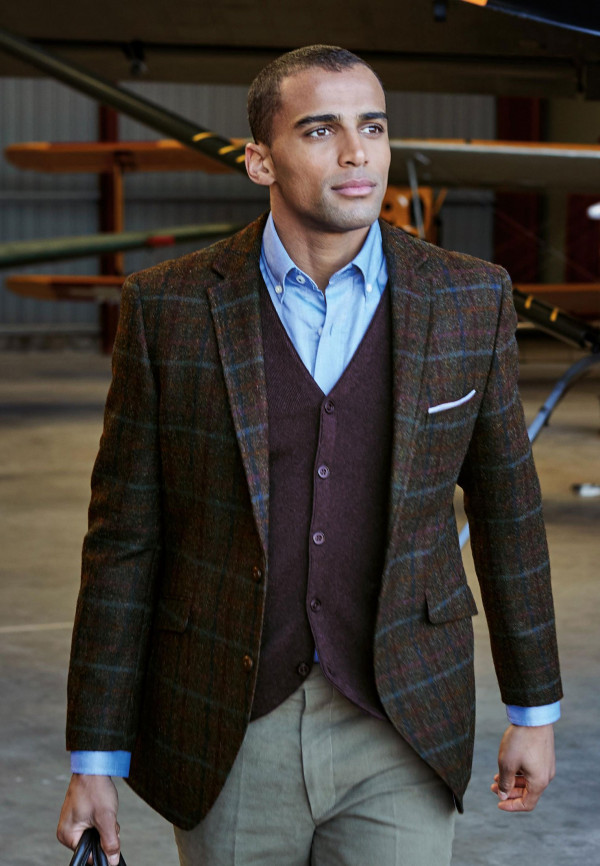 Fir Navy Check Tailored Fit Jacket