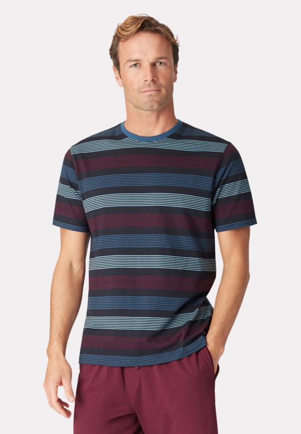 Guiseley Short Sleeve Navy Wine and Denim Blue Stripe T-Shirt