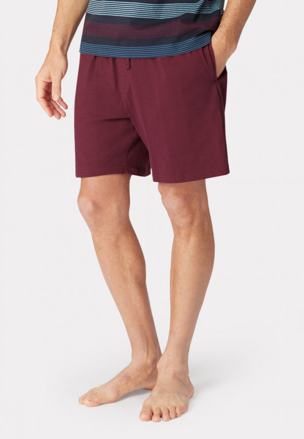 Hawes Wine Cotton Jersey Lounge Shorts
