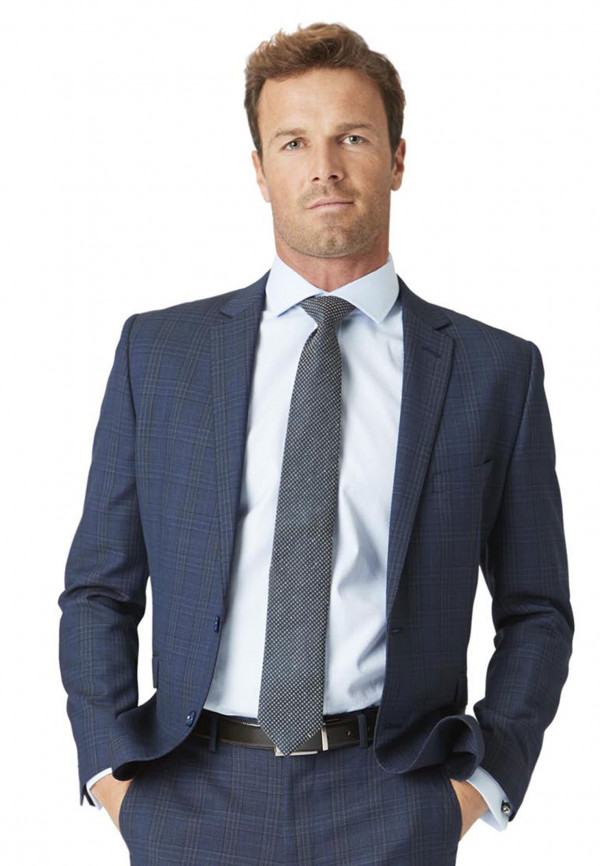 Hitchen Tailored Fit Three Piece Blue Check Suit Jacket