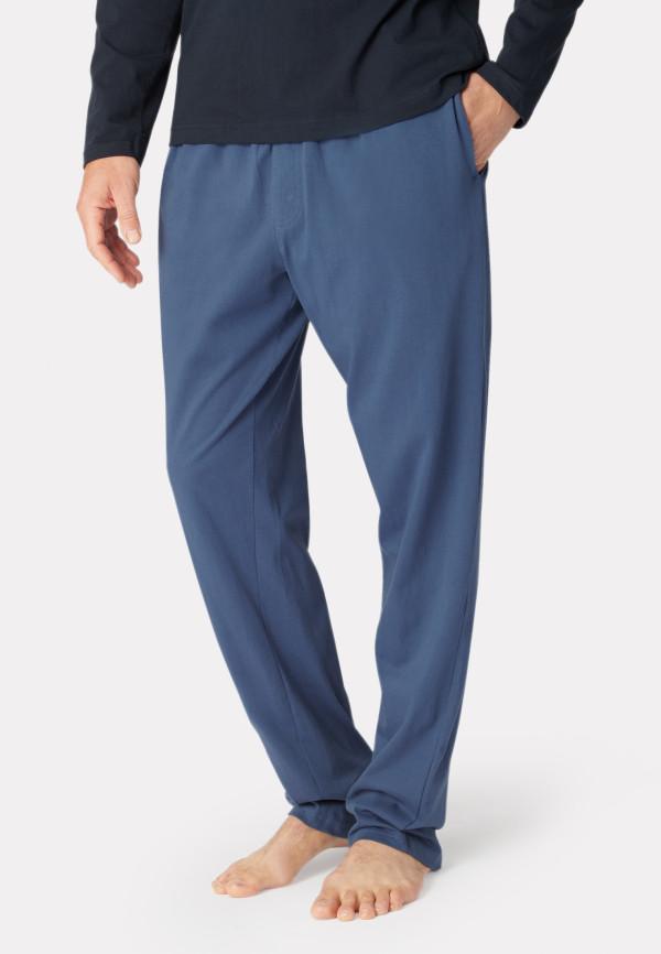 Ossett Denim Blue Cotton Jersey Lounge Pants