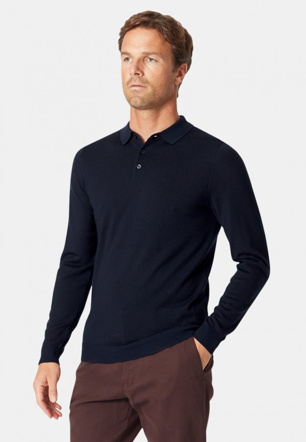 Plockton Navy Extra Fine Merino 14 Gauge Long Sleeve Polo Shirt