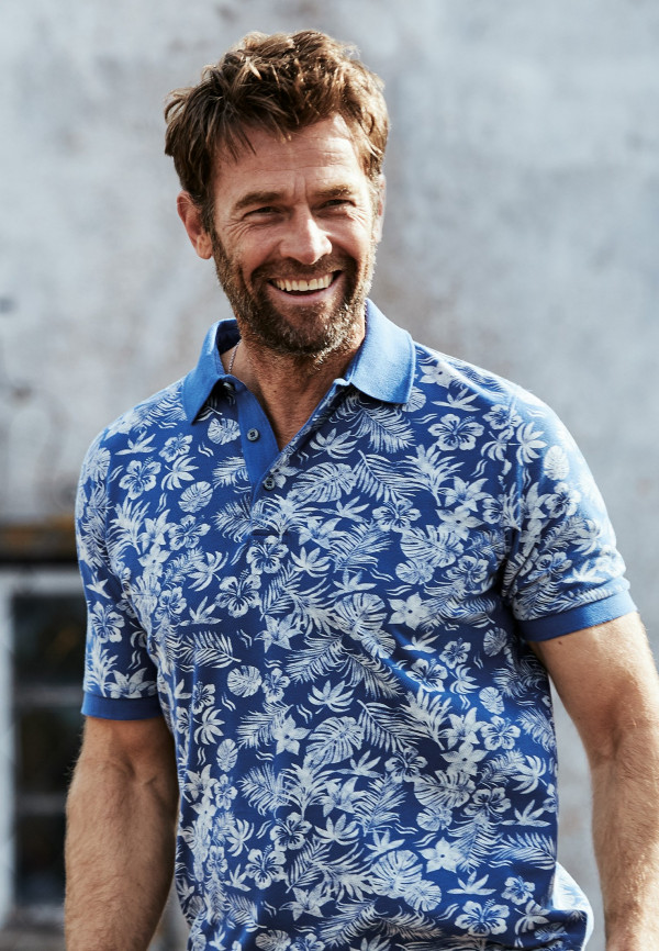 Radcliffe Mid Blue Flower Print Polo Shirt
