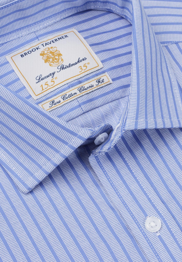 Tailored Fit Navy And Blue Stripe Single Cuff Shirt