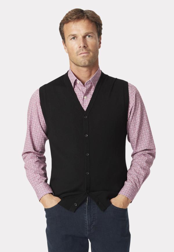 Salcombe Black Extra Fine Merino 14 Gauge Waistcoat