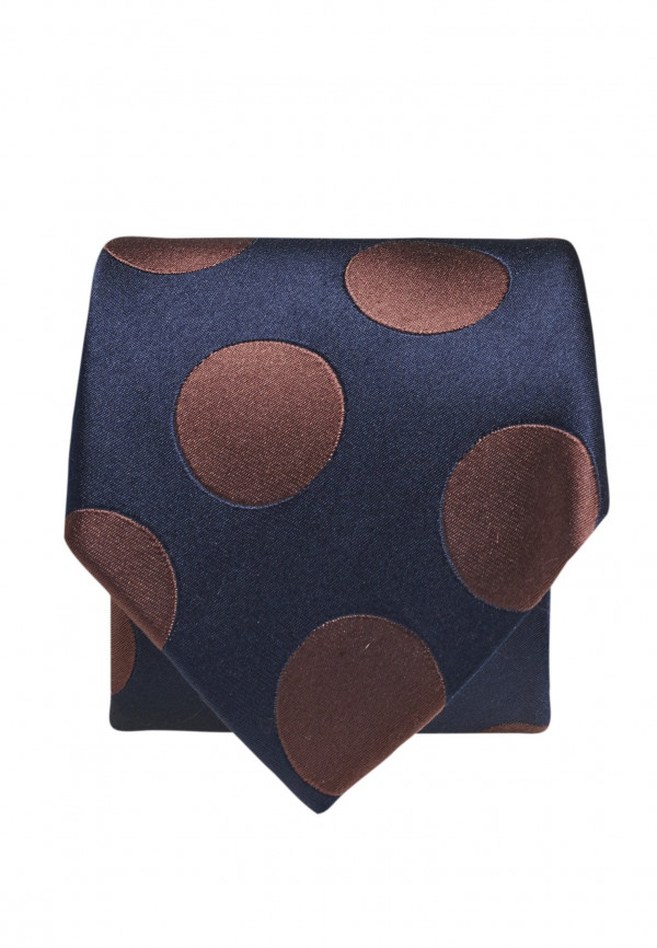Navy With Mocca Spot 100% Silk Tie