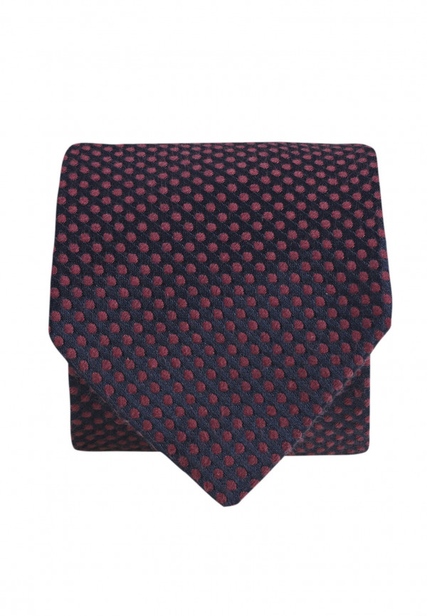 Navy And Cerise Texture Spot Tie