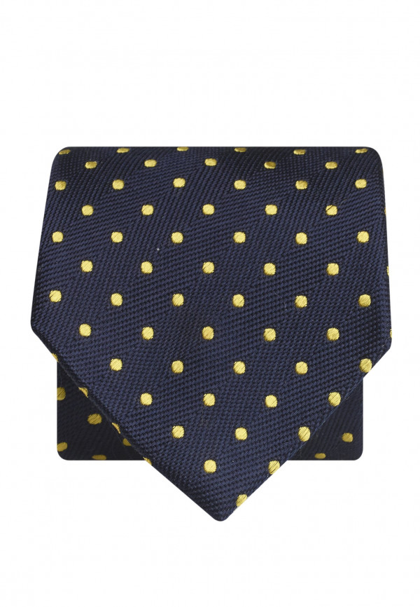 Navy With Yellow Spot 100% Silk Tie