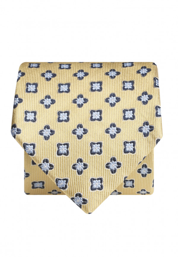 Yellow With Blue Flower 100% Silk Tie