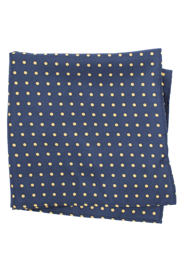 Navy With Yellow Dot 100% Silk Pocket Square