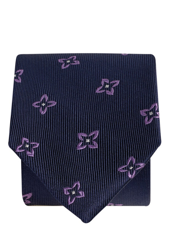 Navy With Lilac Flower 100% Silk Tie