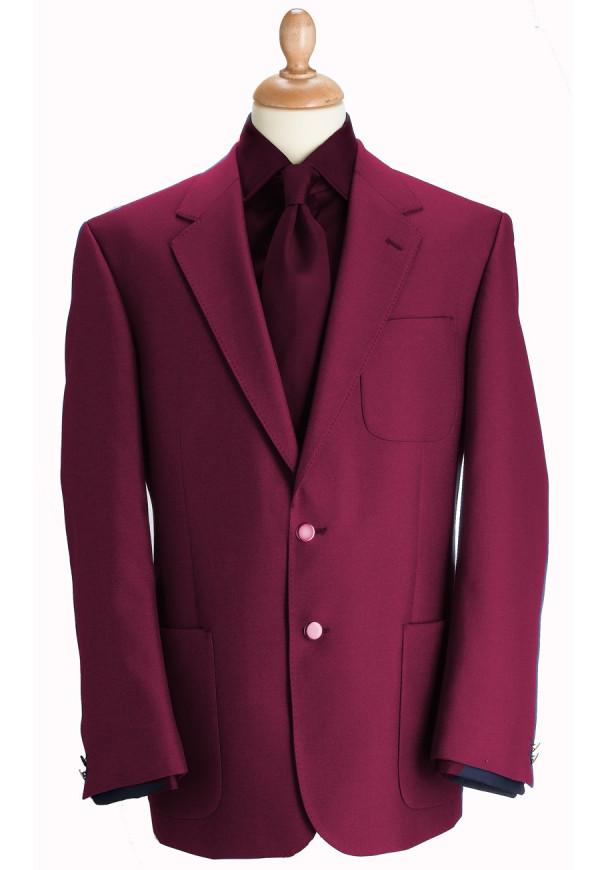 Wine Henley Classic Wool Blend Patch Pocket Blazer