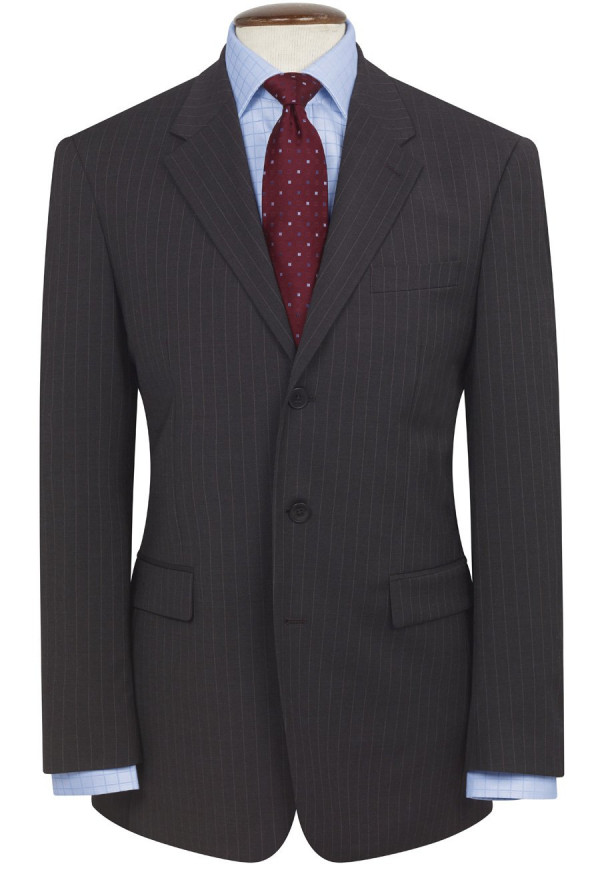 Charcoal Pinstripe Imola Three Button Crease Resistant Suit