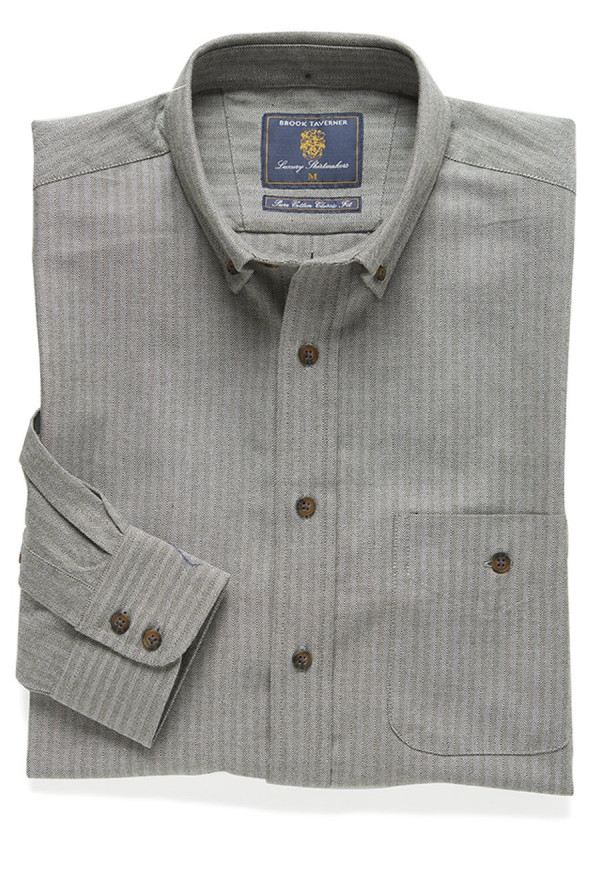 Sage Brushed Flannel Check Cotton Button Down Collar Shirt