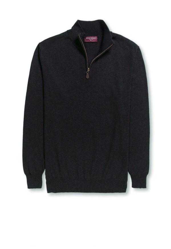 Dallas Black Zip Neck Sweater